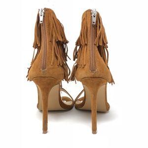 00f8957ad72 Steve Madden Shoes - Steve Madden Shay Chestnut Suede Fringe Sandal 8